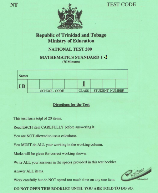 National Test (T&T) Past Papers (Standards 1