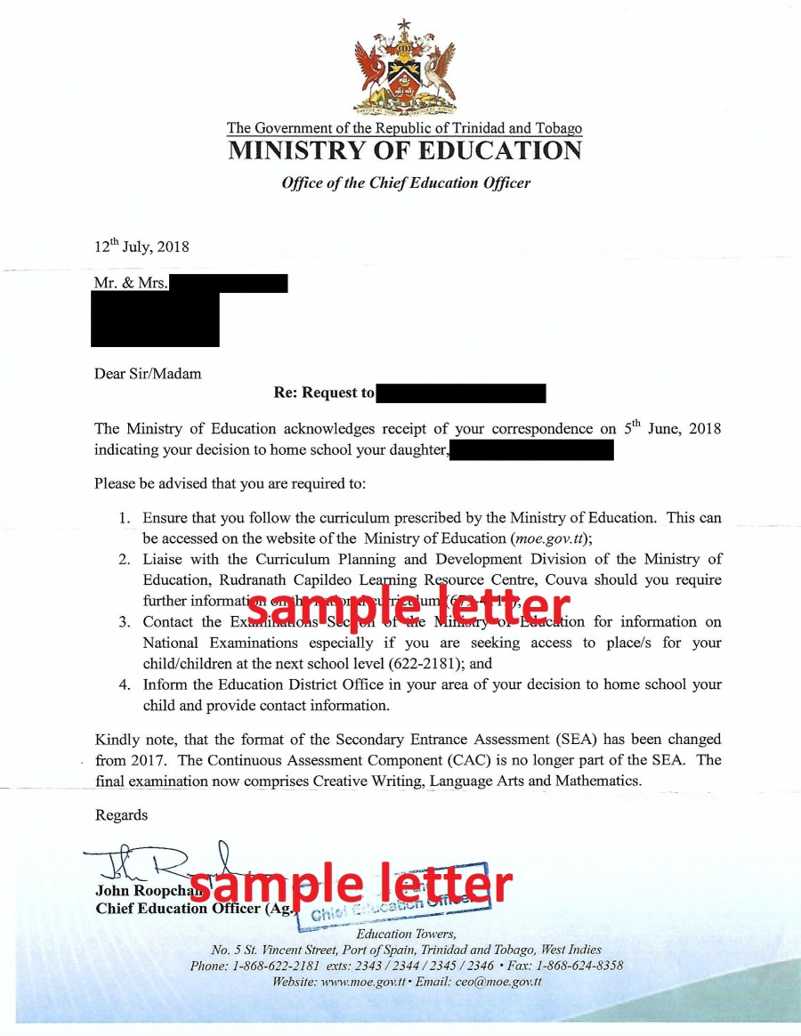 Official Homeschool Letter from MoE - edited
