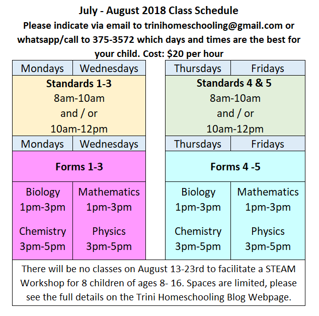 Vacation Class Schedule