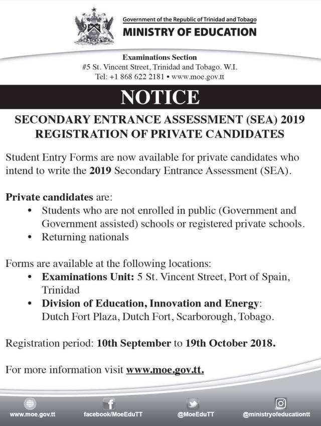 SEA 2019 Private Candidate Registration Info K12 STEM