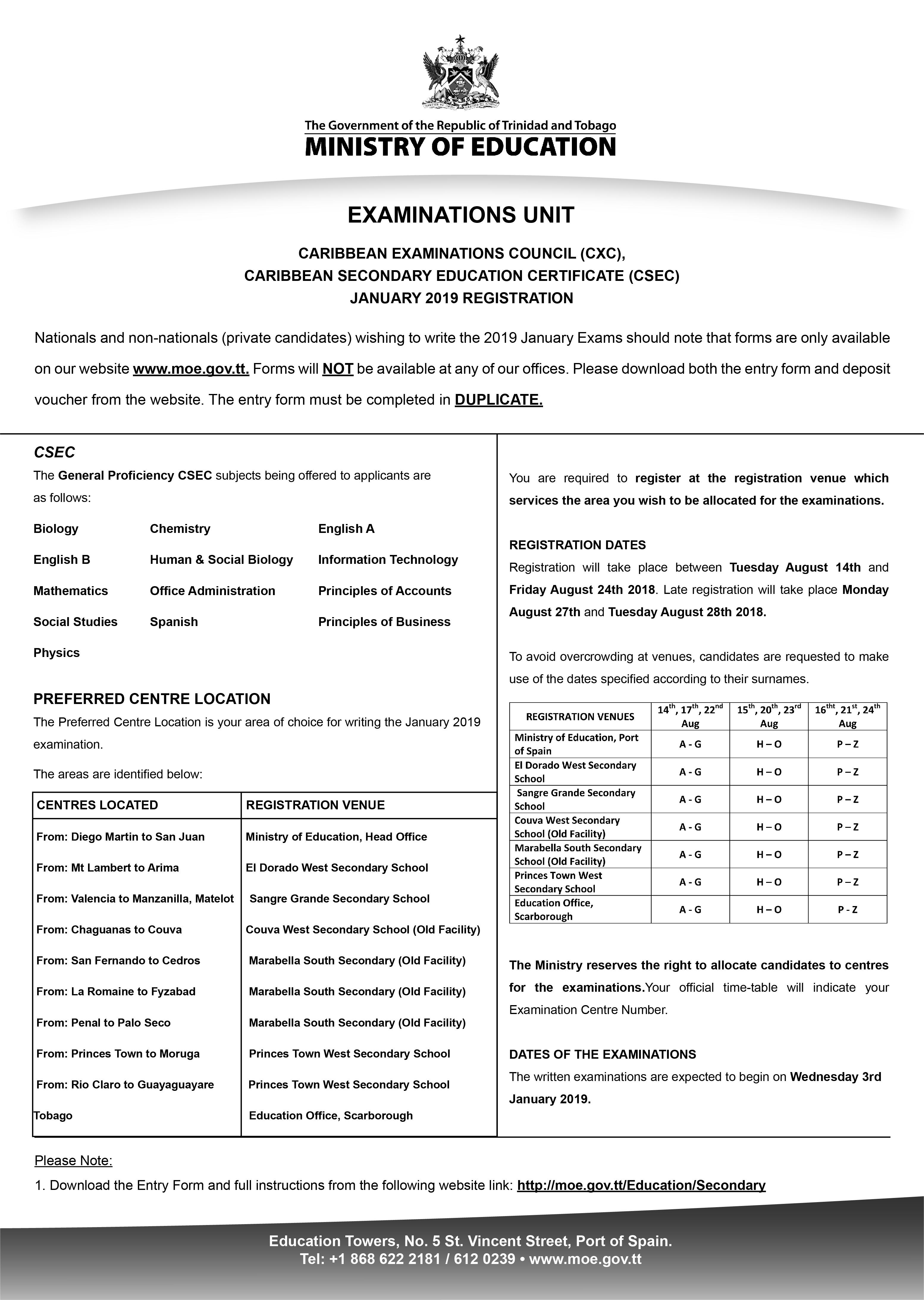 CSEC 2019 January Exams Registration Forms, Instructions ...
