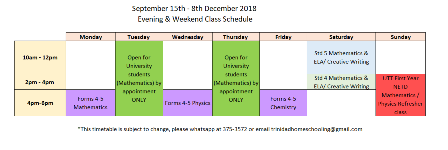 Sept-Dec Timetable