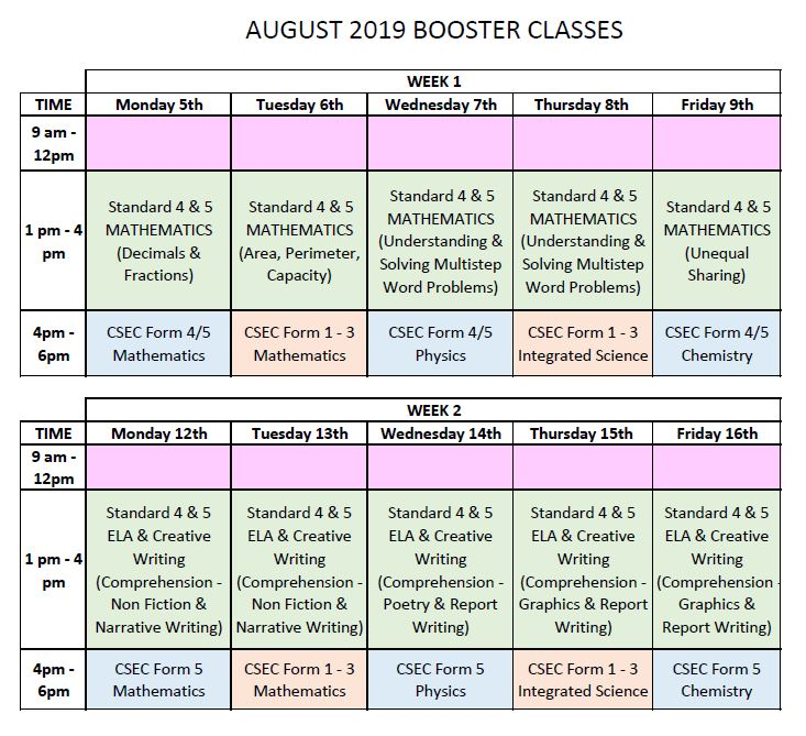 AUGUST BOOSTER CLASSES